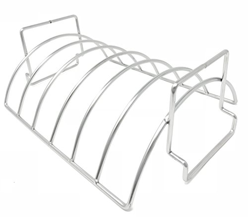 (Aura Outdoor Products Stainless Steel Rib and Roasting Rack - Great for Ribs, Chicken, Loins, and roasts!)