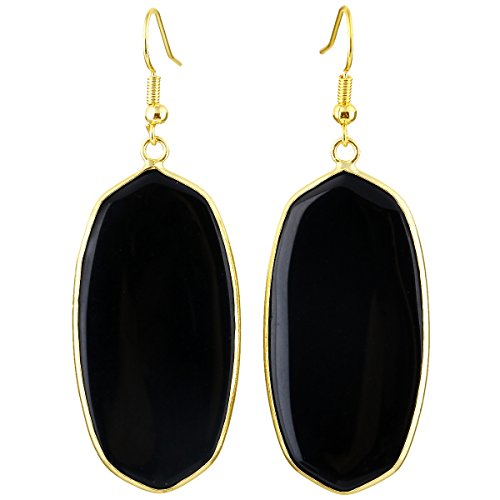SUNYIK Women's Black Agate Oval Dangle Earrings Gold Plated