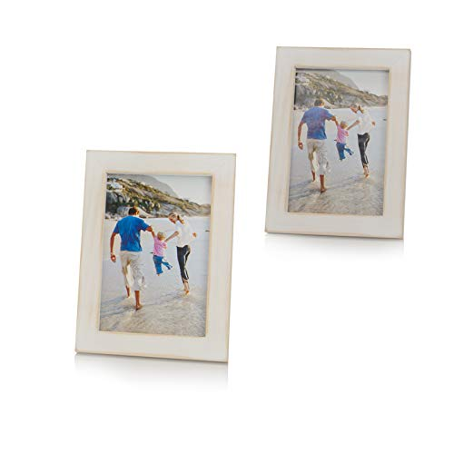 OuXean 4x6 Picture Frames with PVC Rustic Photo Frames for Wall or Tabletop Display,Set of 2, White