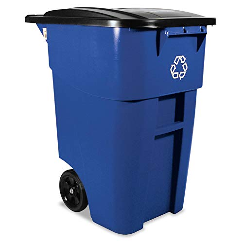 - Brute Recycling Rollout Container, Square, 50gal, Blue, Sold as 1 Each