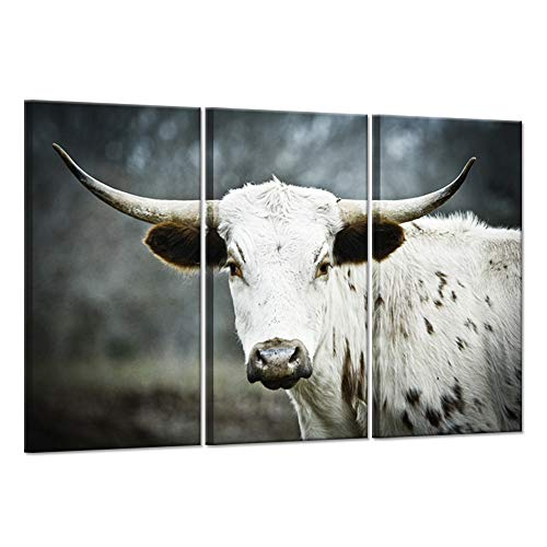(Hello Artwork - Wild Animal 3 Pieces Canvas Wall Art Young Texas Longhorn with Head Turned Left On Blurred Natural Background Giclee Print Artwork Stretched And Framed For Wall Decor 16x32inchx3pcs)