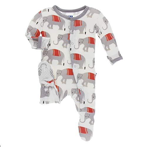 (Kickee Pants Little Boys Print Footie with Snaps - Natural Indian Elephant, 3-6)