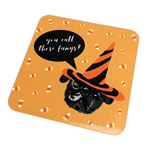 Fun Halloween Themed Festive Dog Breeds Novelty Party Cocktail Drink Coaster (Pug, You Call Those Fangs)