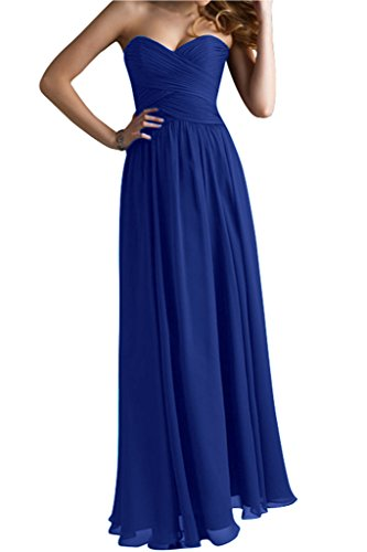 Modisch A Lang Abendkleid Abendmode Herzform Gorgeous Bride Linie Chiffon Royalblau Festkleid U6qxUfw