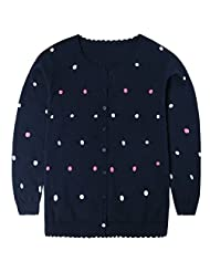 Lymnshi Girls Thin Knitwear Soft Long Sleeves Button Knitted Cardigan Sweater