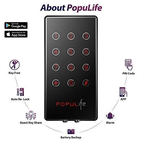 PopuLife Smart Lock Door, Keyless Smart Lock App Enable Pin Code Unlocking, Bluetooth Deadbolt, Auto-Lock Feature, Only Compatible with Wooden Door, Left Door, Right Door by PopuLife (Image #8)