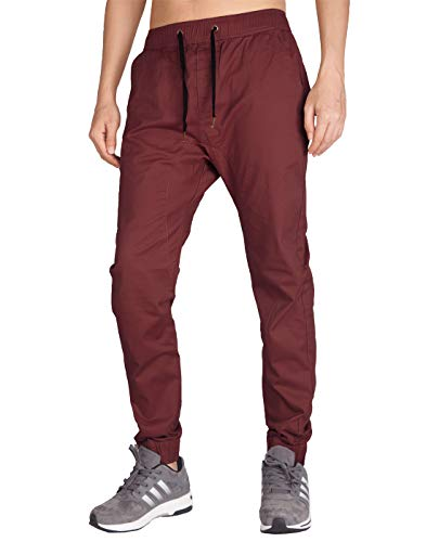 ITALY MORN Men's Chino Jogger Harem Casual Pants M Burgundy