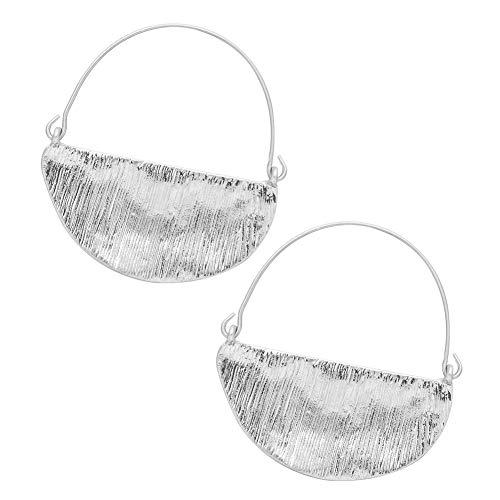 Vintage Tribal Geometric Drop dangle Earrings for Women Girls-2Layer Stripe Moon Simple Half Circle Hoop Earrings