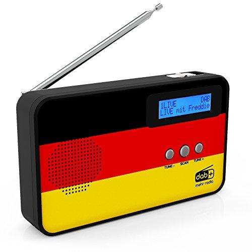 sky vision DAB Radio 100 – kleine digitale radio, DAB Plus, mini, draagbaar, met landenvlaggenmotief