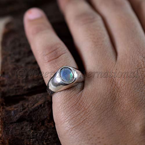 Handmade Men's Ring Multi Fire Ethiopian Opal Ring Men's Special!! Natural Ethiopian Opal Ring 925 Sterling Silver Ring October Birthstone ()