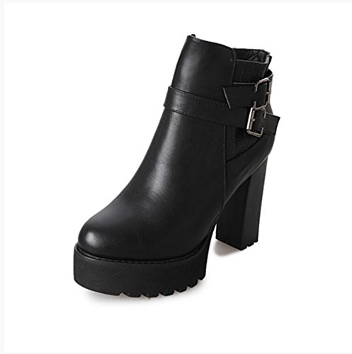 KHSKX-The Korean Version Of The Thick With Ultra-High And 10.5Cm Short Boots Winter New Round Head Waterproof With Belt Clip Side Zipper Knight Boots Female 38 P9m7X0n7