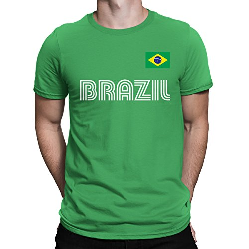 Spiritforged Apparel Brazil Soccer Jersey Mens T Shirt  Kelly Large