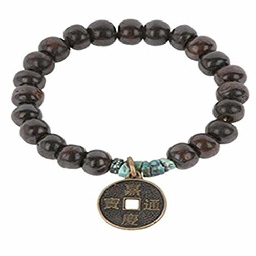 Women's Dark Brown Bone Bracelet with Antique Brass Coin Charm by Made It!