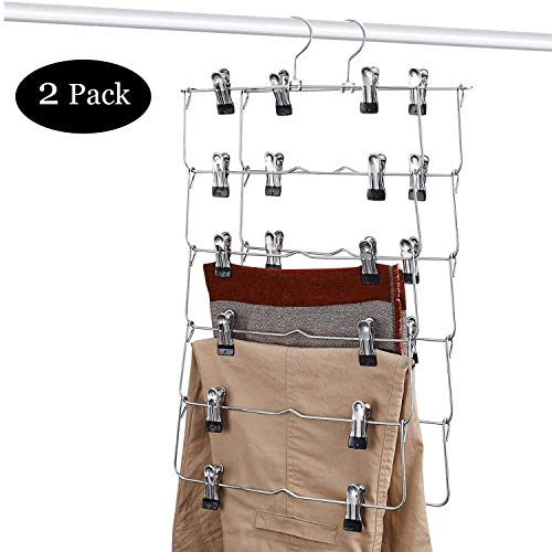 DOIOWN 6 Tier Skirt Hangers Pants Hangers Closet Organizer Stainless Steel Fold up Space Saving Hangers (2-Pieces)