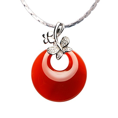 iSTONE Natural Gemstone Donut Pendant Necklace Made with Red Agate Lucky Stone 925 Sterling Silver
