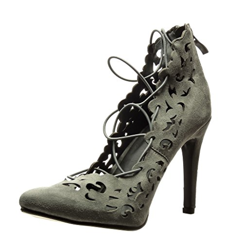 Angkorly Damen Schuhe Pumpe - Stiletto - Sexy - Perforiert - Spitze Stiletto High Heel 10 cm Grau