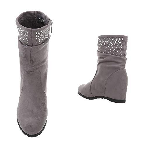 Versteckter Rand Stiefel Strass 36 Wedges Plateau Damen Ankle Grau Keilabsatz 41 von Booties Stiefelette Boots Größe 8Xxw8TYzq