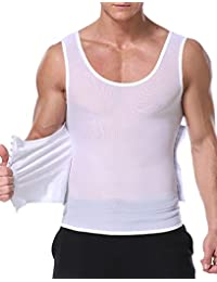 DoLoveY Mens Compression Tank Top Slimming Shirt Body Shaper Vest Abdomen Shapewear Waist Trainer