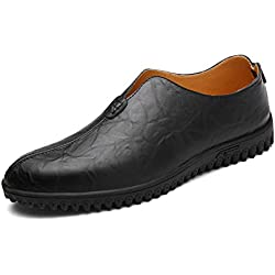 GIY Men Fashion Round Toe Soft Loafers Comfortable Slip-on Driving Walking Casual Flat Shoes