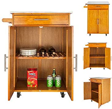 Kitchen Island Cart,Rolling Dining Table Tray Wooden Serving Stand Kitchen  Trolley Storage Cabinet with Stainless Steel Table Top & One Drawer & One  ...