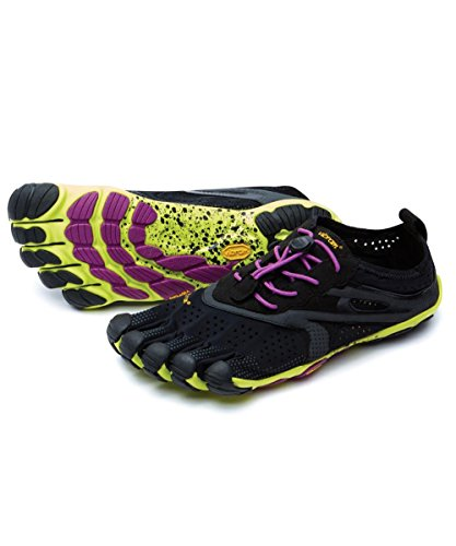 vibram five fingers ビブラム ファイブフィンガーズ V-Run ブイラン レディース w's Black/Yellow/Purple 16W3105 (W41(25.7cm), Black/Yellow/Purple)