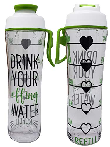 (50 Strong BPA Free Reusable Water Bottle with Time Marker - Motivational Fitness Bottles - Hours Marked - Drink More Water Daily - Tracker Helps You Drink Water All Day -Made in USA (Effing, 24 oz.))