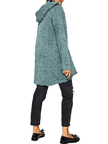 Chaqueta Suelta Otoño Con Punto Largo Abierto Para El Bolsillo Mujeres Donnagelia Verde Spring Jersey Frente De Cárdigans Cw4tUx0Mxq
