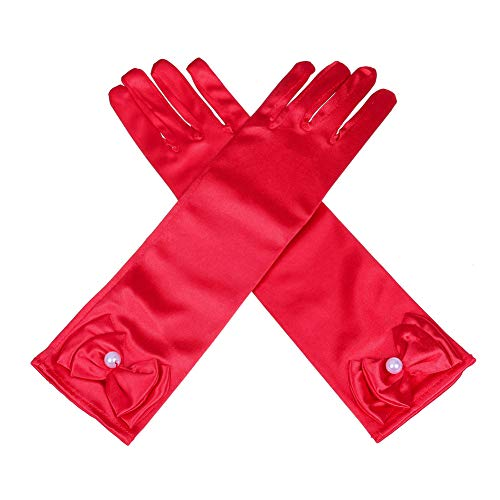 Lusiyu Girl Solid Color Long Elbow Length Formal Pageant Glove (Red) ()