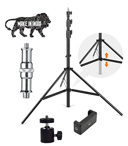 HOJI® 9 Feet Big Digital Camera Camcorder Tripod Mount Stand for All Android & iOS Smartphone DSLR, Camera with I Ball Attachment and 2 in1 Mobile Holder (HOJI00-9FEET)