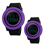 Unique Cool Outdoor Sport Digital Couple Watch Purple Black Soft Band Led Alarm(Two Pieces One Pack)