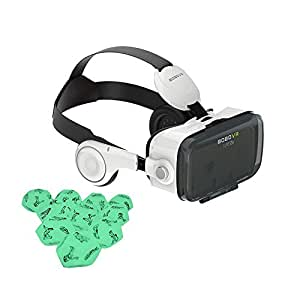 VIGICA 3D VR Glasees,VR Headset Virtual Reality Box adjsutable focal/pupil distance with Headphone,for 4.7~6.2 inch Mobie Phones(iPhone/Samsung) for 3D Movies Games,with Dark Sex Dice