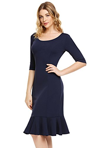 Pencil Fit Midi Fishtail Mini Half Bulges Slim Blue Sleeve Womens Dark Dress qX8Za