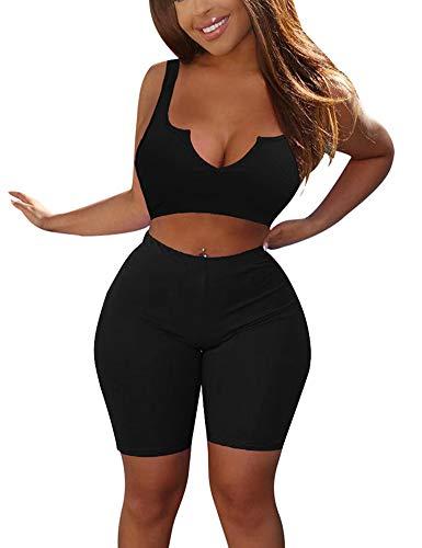 - MIZOCI Women's Bodycon 2 Piece Outfits Sexy Sleeveless Crop Tank Top Shorts Pants,Medium,Black
