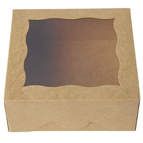 "[25pcs]ONE MORE 6""Brown Bakery Boxes with pvc Window for Pie and Cookies Boxes Small Natural Craft Paper Box,6x6x2.5inch(Brown,25)"