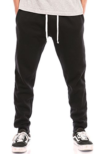 Pro Cube Men's Joggers Sweatpants Basic Fleece Marled Jogger Pant Elastic Waist (Large, (Black Sweatpants)