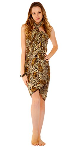 1 World Sarongs Womens Feline Print Swimsuit Cover-Up Sarong in Style 14