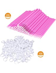 100 Glue Holder Rings Cup and 200 Disposable Micro Brushes Applicator Kit Pink for Eyelash and Tattoo