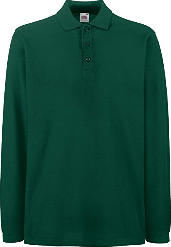 Fruit of the Loom Unisex Premium Long Sleeve Poloshirt 63-310-0 Forest Green 3XL