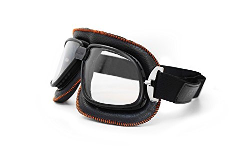 Vintage Motorcycle Goggles in Black Leather and Orange Stitching with Anticrash Lenses By Bertoni Italy - AF196B - Motorbike Aviator - Goggles Classic Aviator