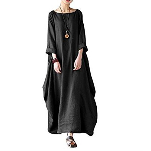 Anjoy Women's 3/4 Sleeve Round Neck Solid Loose Baggy Long Maxi Dress Cotton Gown Plus Size (Cotton Plus Size Costumes)