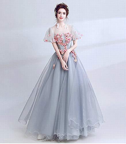 Principessa Fiore a Dinner Blu Gown Grigio Linea YT Abito Ball Terra Blu XXL Lungo polveroso da ER Fata Wedding Una Manicotto Prospettiva Ricamo aA8xwtOq