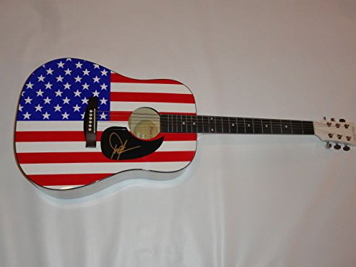 Dwight Yoakam Autographed Signed Full Size Usa Flag Acoustic Guitar Country Legend JSA Authentic