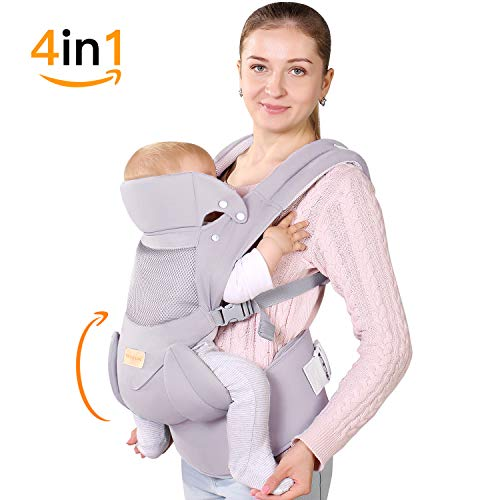 Ergonomic Baby Carrier with Hip Seat Soft & Breathable Baby Carriers,All Positions Front and Back for Infants to Toddlers,Up to 38lbs,Grey (Light Grey)
