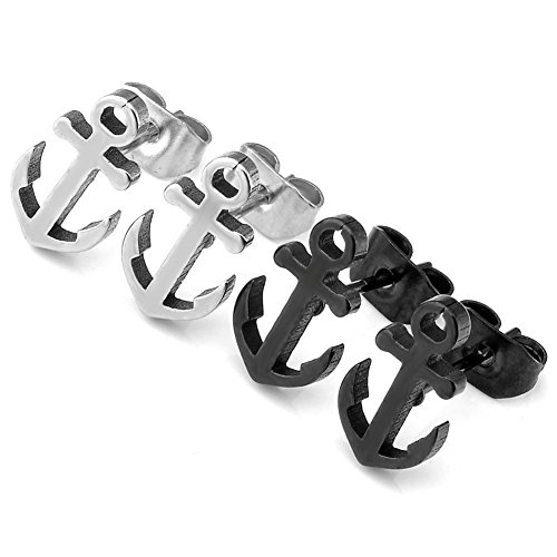 Zysta 2pcs Silver Black Stainless Steel Anchor Stud Earrings