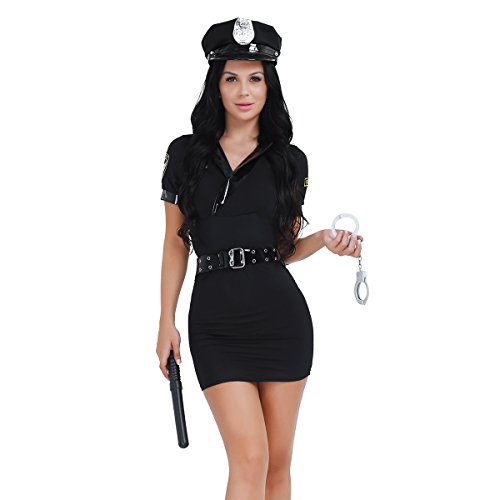 YiZYiF Women's Sexy Police Uniform Officer Costume Halloween Cosplay Fancy Dress -
