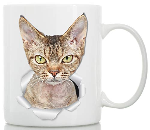 Grumpy Devon Rex Cat Mug - Tabby Devon Rex Cat Ceramic Coffee Mug - Perfect Devon Rex Cat Gifts - Funny Devon Rex Cat Coffee Mug for Cat Lovers (11oz)
