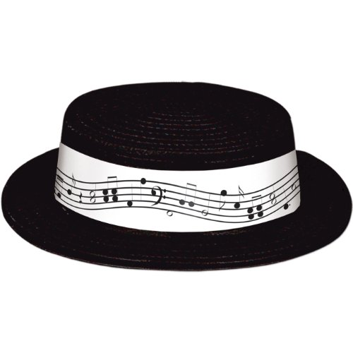 Black Plastic Skimmer w/Music Staff & Notes Band Party Accessory (1 count) -