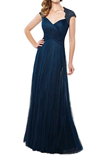 La_mia Braut 2016 Neu Elegant Fuchsia Dunkel Blau Spitze V-ausschnitt Abendkleider Ballkleider Brautmutterkleider Lang -36 Dunkel Blau