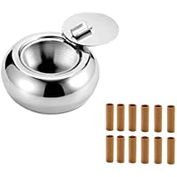 ZLKSKER Stainless Steel Ashtray with Lid, Windproof Ashtray for Indoor or Outdoor, with 12 Pre-Rolled Tips