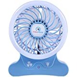Portable Mini Desktop Fan with LED Light Touch Control, Ryham Desk Electric Rechargeable Battery(2500 mAh) 3 speed for Office Travel Home (Blue)